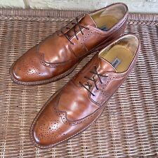 Johnston & Murphy Men's 11.5 M Brown Leather Long Wing Wingtip Brogue Oxford