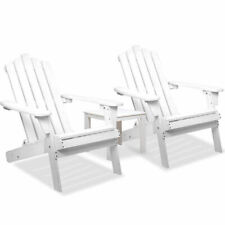 3pcs Set Adirondack Chair & Side Table Outdoor Furniture Garden Beach Deck White