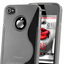 HOUSSE ETUI COQUE SILICONE GEL GRIS APPLE IPHONE 4 / 4S