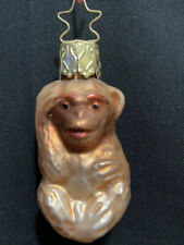 "Ornament West Germany Miniature Glass Blown Monkey Collectible Mammal 3"" Tall"