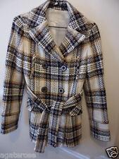 NICE CLAUP brand wool blend Vintage belted Jacket Coat cream brown black size S