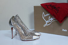 New sz 6 / 36 Christian Louboutin Spike Me PVC Silver Cap Toe Red Sole Pump Shoe