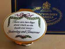 Halcyon Days Enamel Hinged Motto Box, Do not worry about Yesterday and Tomorrow