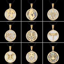 Round Gold Stainless Steel Shell Animal Pendant Leather Chain Necklace Women Men