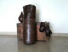 Vintage Dark Brown Leather | Boxing Gym Punch Bag, Gloves, Punch Ball & Fitting