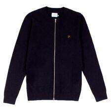 Farah Lambswool Mens Full Zip Sweater Jumper in True Navy Marl  Medium     g3