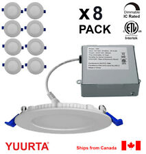 """YUURTA (8-pack) 4"""" 10W Slim Dimmable LED Recessed Ceiling Downlight (Pot Light)"""