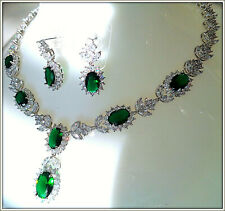 18k White Gold Over Emerald AABrilliant Stone Necklace Earring Set Bridal Party