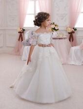 Elegant White Half Sleeve Lace Communion Dresses Vestidos de Comunion de Festa