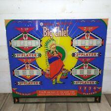 Pinball backglass BIG CHIEF Williams de 1965 originale Flipper vintage