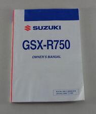 Owner's Manual/Handbook SUZUKI Motorcycle gsx-r750 from 01/2008