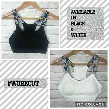 PINK sports t-shirt bra black white one size crop top