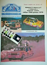 DECAL ADD 1: 43 - RENAULT 5 ALPINE gr 2 - RAGNOTTI - RALLYE 1000 PISTES 1978
