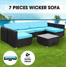 7Pcs Patio Sofa Combination Pe Wicker Rattan w/Storage Sectional Furniture Set