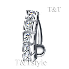 TT Reverse Clear CZ Belly Bar Ring Silver/Gold Body Piecing (BL516)