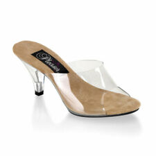 6536548c4d8 Fabulicious HEELS Clear Stiletto Shoes Mule Slip on Sandals Belle-301 Tan  Sole 10