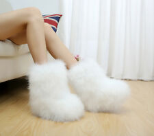 Chic Sweet Womens Winter Warm Boots Pull On Fur Anke Boots Flats Casual Shoes