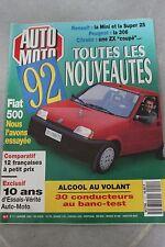 AUTO MOTO 111 JANV 1992 MINI SUPER 25 RENAULT 306 ZX COUPE FIAT 500  CLIO S
