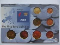 The First Euro Coin Set Portugal 2002 2 1 50 20 10 5 2 1 EU Rare UNC Lot Free