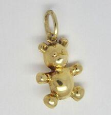 Teddy Bear Charm / Pendant - 9ct Yellow Gold - 16x11mm