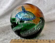 Caithness MAGIC POTION GLASS PAPERWEIGHT Scotland~Signed~Green,Blue & Multicolor