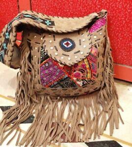 Suede Leather Fringe Bag Banjara Handbag Shoulder Bag Handmade Unique Gifts Bags