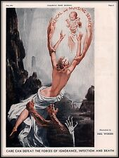 1934 Magazine Print Art REX WOODS Naked Mother Ignorance Death Infection Baby