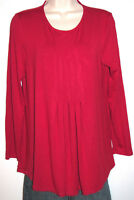 J. Jill Petites Women's Red Pleated Long Sleeve Stretch Rayon Top Size PS