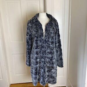 Women's Black & Grey Faux Fur Sherpa Coat Size XL, Dylan Los Angeles Boho Funky