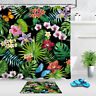 """Tropical Flowers Butterflies Palm Leaves Fabric Shower Curtain Bathroom Sets 72"""""""