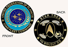 Star Trek 50th Anniversary TO BOLDLY GO UFP COMMEMORATIVE COIN ~ Brass & Enamel