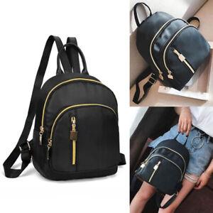 Women Causal Small Backpack Travel Nylon Handbag Shoulder Bag Black