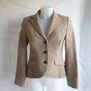 Jack Wills Jacket Size UK 8 Blazer Collared Button Up Style Brown Wool 022390