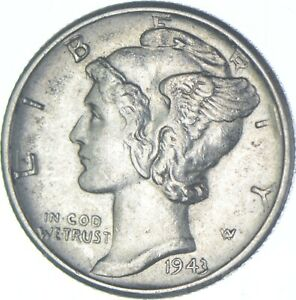 Ch AU/Unc 1943-D Mercury Liberty Dime - 90% Silver - High Grade *379