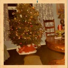 Old Vintage Photograph Gorgeous Christmas Tree Decorated in Retro Dining Room