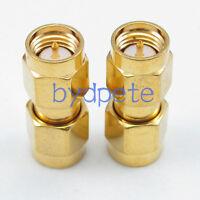 2pcs SMA male plug to SMA male plug Straight RF Connetor Adapter