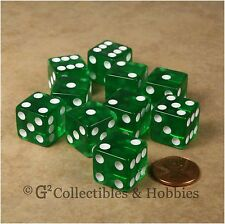 NEW 10 Transparent Green 6 Sided RPG Bunco Game Dice Set Koplow 16mm D6