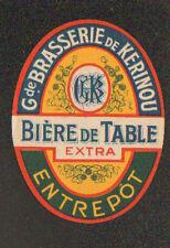 """LAMBEZELLEC (29) ETIQUETTE Ancienne BIERE BRASSERIE de KERINOU """"BIERE GBK EXTRA"""""""