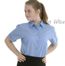 Girls School Blouse Shirt Uniform Short Sleeve White Sky Blue Age 2-18 Years