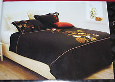 Radisson Black Oriental Symbol Queen Bed Embroidered Quilt Cover Set New