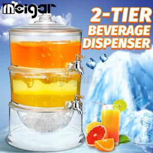 MEIGAR 2-Tier Juice Cold Drink Dispenser Lemonade Beverage Cooler Holde