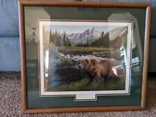 1996 Watchful Eyes Trevor Eckhoff Framed Bear Picture W/ Cert Of Authenticity