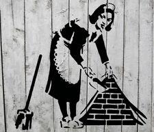 Schablone - Banksy Maid Fegen 19x20 cm - Stencil Airbrush