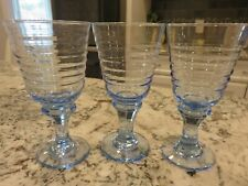 "3 Libbey SIRRUS Light Misty Blue Glass 7"" Wine Water Goblets EUC"