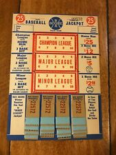 1940'S Baseball Box Score Jackpot Punch Board Gambling Vintage Rare