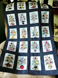 handmade lap quilts new 36x50 black with white dots sashing