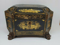 ANTIQUE FINE CHINESE GIFT DECORATED PAINTED EXPORT TEA CADDY PEWTER GOLD LACQUER