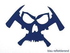 """Feuerwehr - Helm - Aufkleber """"Skull & Hatchet"""" in blau reflektierend"""
