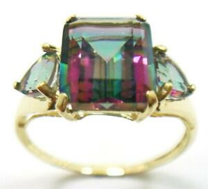 SYJEWELLERY 9CT SOLID YELLOW GOLD NATURAL OCTAGON MYSTIC TOPAZ RING SIZE N R1075