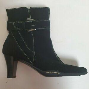 Aerosoles Black Calf Suede Buckle Boots Sz US 8.5